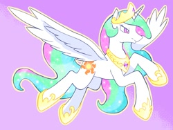 Size: 1024x768 | Tagged: safe, artist:makaroni923, princess celestia, alicorn, pony, crown, female, flying, hoof shoes, jewelry, mare, pixiv, purple background, regalia, simple background, solo, spread wings, wings