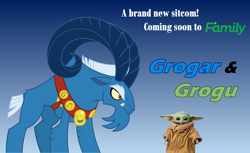 Size: 2292x1403 | Tagged: safe, artist:fercho262, grogar, sheep, advertisement, antagonist, baby yoda, beard, collar, cute, discovery family, discovery family logo, eyebrows, facial hair, fangs, glare, grogu, horns, male, poster, ram, sitcom, spoilers for another series, star wars, the mandalorian