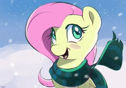 Size: 2500x1750   Tagged: safe, artist:nookprint, fluttershy, pegasus, pony, blush sticker, blushing, bust, clothes, cute, female, folded wings, high res, looking at you, mare, open mouth, outdoors, scarf, shyabetes, smiling, snow, snowfall, solo, three quarter view, wings, winter, winter outfit