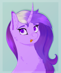 Size: 2786x3294   Tagged: safe, artist:nyota71, oc, oc:stardust, unicorn, :p, bust, cheek fluff, chest fluff, colored pupils, commission, curved horn, ear fluff, female, fluffy, horn, long hair, mare, portrait, solo, tongue out