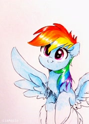 Size: 2180x3049 | Tagged: safe, artist:liaaqila, rainbow dash, pegasus, pony, chest fluff, cute, ear fluff, female, full face view, head tilt, looking at you, mare, simple background, smiling, solo, spread wings, traditional art, white background, wings, wip
