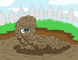 Size: 1400x1088 | Tagged: safe, artist:amateur-draw, pear butter, earth pony, pony, draw me like one of your french girls, female, fence, lying down, mare, messy, mud, mud bath, muddy, pig pen, simple background, solo, sultry pose, wet and messy