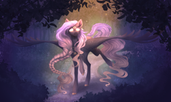 Size: 5000x3000 | Tagged: safe, artist:monogy, oc, oc:crying moon, pegasus, braid, female, forest, high res, mare, solo, trail