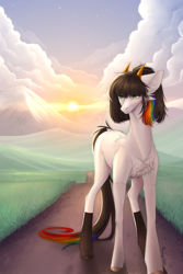 Size: 2000x3000 | Tagged: safe, artist:monogy, earth pony, pony, cloud, female, high res, horns, mare, solo, sunrise