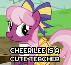 Size: 1024x945 | Tagged: safe, edit, edited screencap, screencap, cheerilee, earth pony, pony, captain obvious, caption, cheeribetes, cheerileeder, cheerleader, cheerleader outfit, clothes, cute, female, image macro, mare, solo, text, truth