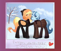 Size: 6900x5800   Tagged: safe, alternate version, artist:menalia, oc, oc only, oc:freezy coldres, oc:shiny flames, pegasus, pony, unicorn, aesthetics, blue eyes, clothes, cloud, female, gloves, gradient background, happy, hat, heart, horn, mare, orange eyes, pants, polaroid, red background, scarf, shoes, simple background, skirt, sweater, text, tree, wings, winter, winter outfit