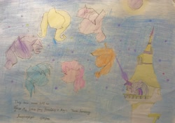 Size: 2913x2052 | Tagged: safe, artist:imaginarylightw, applejack, fluttershy, pinkie pie, rainbow dash, rarity, twilight sparkle, mlp fim's tenth anniversary, happy birthday mlp:fim, magic, mane six, night, traditional art