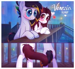 Size: 1030x950 | Tagged: safe, artist:finalaspex, oc, oc:cipher wave, oc:finalaspex, earth pony, pony, blushing, bridge, city, couple, cute, italy, night, romantic, tail, venezia, water