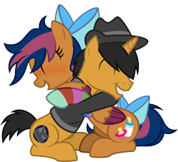 Size: 2444x2221 | Tagged: safe, artist:lightning stripe, derpibooru exclusive, oc, oc:kaokraft, oc:solar comet, pegasus, pony, unicorn, black mane, black tail, bow, clothes, colt, commission, cute, cutie mark, duo, eyes closed, fedora, grin, hair over one eye, happy, hat, hoodie, horn, hug, male, messy mane, orange coat, pegasus oc, short tail, show accurate, simple background, sitting, smiling, sock, tail bow, transparent background, trap, two toned mane, two toned tail, two toned wings, vector, wholesome, wings