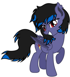 Size: 596x662 | Tagged: safe, artist:ragedox, oc, oc:rouse black, bat pony, pony, cutie mark, doom equestria, female, looking at you, red eyes, sexy face, show accurate, simple background, smiling at you, solo, tail, transparent background, vector, wings