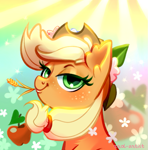 Size: 771x780 | Tagged: safe, artist:rrd-artist, part of a set, applejack, earth pony, pony, abstract background, apple, bust, female, flower, flower in hair, food, lidded eyes, looking at you, mare, portrait, smiling, solo, straw in mouth
