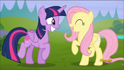 Size: 1136x640 | Tagged: safe, screencap, fluttershy, twilight sparkle, alicorn, the hooffields and mccolts, cute, discovery family logo, glowing cutie mark, shyabetes, smiling, twiabetes, twilight sparkle (alicorn), yay