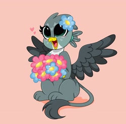 Size: 4096x4034 | Tagged: safe, artist:kittyrosie, gabby, griffon, best griffon, blushing, bouquet, cute, digital art, female, flower, flower in hair, gabbybetes, happy, kittyrosie is trying to murder us, pink background, simple background, smiling, solo, spread wings, weapons-grade cute, wings