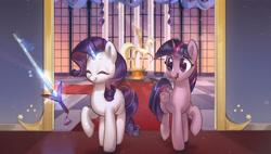 Size: 3289x1874 | Tagged: safe, artist:mirroredsea, rarity, twilight sparkle, alicorn, pony, unicorn, duo, levitation, magic, sword, telekinesis, twilight sparkle (alicorn), weapon