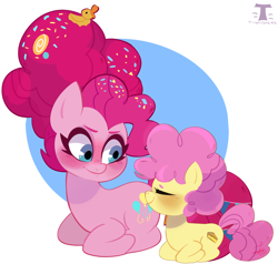 Size: 4388x4180 | Tagged: safe, artist:t-whiskers, li'l cheese, pinkie pie, earth pony, pony, the last problem, blushing, duo, duo female, eyes closed, female, mama pinkie, messy mane, mother and child, older, older pinkie pie, ponyloaf, rubber duck, simple background, sitting, white background