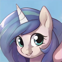 Size: 1024x1024   Tagged: safe, artist:thisponydoesnotexist, edit, editor:diego96, oc, unnamed oc, pony, unicorn, artificial intelligence, female, happy, neural network, simple background, smiling, solo