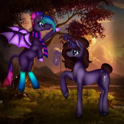 Size: 1080x1080 | Tagged: safe, artist:rxndxm.artist, oc, oc only, bat pony, pony, unicorn, bat pony oc, bat wings, clothes, duo, glowing horn, horn, magic, outdoors, raised hoof, socks, sunset, telekinesis, tree, unicorn oc, wings