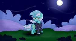 Size: 7559x4157 | Tagged: safe, artist:background basset, lyra heartstrings, pony, unicorn, fanfic:background pony, bush, dig the swell hoodie, female, mare, moon, night, solo, tired, wind