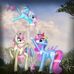 Size: 1080x1080 | Tagged: safe, artist:rxndxm.artist, oc, oc only, alicorn, bat pony, bat pony alicorn, pony, alicorn oc, bat pony oc, bat wings, cloud, colored hooves, flower, flower in hair, horn, leonine tail, outdoors, raised hoof, wings
