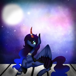 Size: 1080x1080 | Tagged: safe, artist:rxndxm.artist, oc, oc only, alicorn, pony, alicorn oc, collar, curved horn, ethereal mane, horn, horn ring, lying down, prone, ring, smiling, solo, starry mane, two toned wings, wings