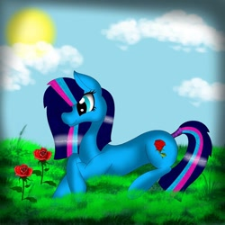Size: 1080x1080 | Tagged: safe, artist:rxndxm.artist, oc, oc only, earth pony, pony, cloud, earth pony oc, flower, grass, lying down, outdoors, prone, rose, solo