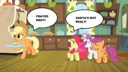 Size: 1280x720 | Tagged: safe, edit, screencap, apple bloom, applejack, scootaloo, sweetie belle, growing up is hard to do, bowl, cabinet, complaining, cup, curtains, cutie mark crusaders, faic, food, jar, kitchen, plate, plates, sad, santa claus, sink, soup, stove, window
