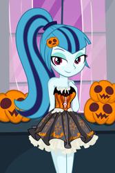 Size: 3200x4800 | Tagged: safe, artist:daarkenn, sonata dusk, clothes, costume, halloween, halloween costume, holiday, pumpkin