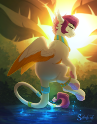 Size: 1492x1893 | Tagged: safe, artist:silentwulv, sphinx, female, solo, two toned wings, wings