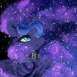 Size: 3000x3000 | Tagged: safe, artist:livitoza, princess luna, alicorn, pony, bust, chest fluff, choker, ear fluff, ethereal mane, female, folded wings, hair over one eye, looking up, mare, portrait, solo, starry mane, three quarter view, wings
