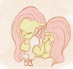Size: 476x452 | Tagged: safe, artist:laya-21, angel bunny, fluttershy, pegasus, pony