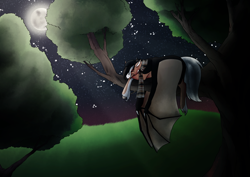 Size: 4961x3508 | Tagged: safe, artist:oneiria-fylakas, oc, oc only, oc:sampson, bat pony, pony, clothes, male, moon, night, scarf, sleeping, solo, stallion, stars, tree, tree branch