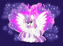 Size: 2048x1492   Tagged: safe, artist:pink-pone, oc, oc:arcane aria, alicorn, pony, female, magic, mare, solo