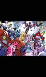 Size: 1200x2000   Tagged: safe, artist:tonyfleecs, applejack, discord, fluttershy, owlowiscious, pinkie pie, rainbow dash, rarity, soarin', spitfire, twilight sparkle, alicorn, unicorn, idw, spoiler:friendship in disguise, spoiler:friendship in disguise04, arcee, autobot, clash of hasbro's titans, clothes, comic, gauge (autobot), ironhide, mane six, optimus prime, prowl, transformers, twilight sparkle (alicorn), uniform, windblade, wonderbolts uniform