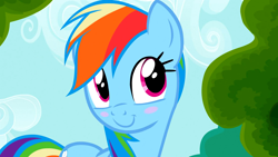 Size: 1920x1080 | Tagged: safe, screencap, rainbow dash, pegasus, the mysterious mare do well, blush sticker, blushing, cute, dashabetes, smiling