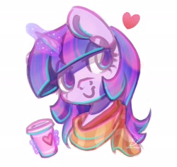 Size: 2052x1944 | Tagged: safe, artist:musicfirewind, twilight sparkle, pony, bust, clothes, coffee, coffee cup, cup, eye clipping through hair, female, glowing horn, heart, horn, magic, mare, portrait, scarf, simple background, smiling, solo, telekinesis, white background
