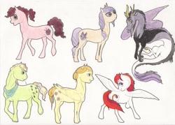 Size: 3077x2209   Tagged: safe, artist:lady-limule, oc, oc only, oc:asteria, draconequus, earth pony, hybrid, pegasus, pony, draconequus oc, earth pony oc, female, interspecies offspring, looking back, magical lesbian spawn, male, mare, offspring, parent:applejack, parent:bulk biceps, parent:cheese sandwich, parent:coloratura, parent:discord, parent:fluttershy, parent:pinkie pie, parent:rainbow dash, parent:rarity, parent:twilight sparkle, parents:canon x oc, parents:cheesepie, parents:discolight, parents:flutterbulk, parents:rarajack, pegasus oc, stallion, straw in mouth, traditional art, wings