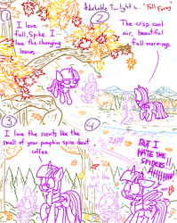 Size: 4779x6013 | Tagged: safe, artist:adorkabletwilightandfriends, spike, twilight sparkle, alicorn, dragon, pony, spider, comic:adorkable twilight and friends, adorkable, adorkable twilight, autumn, butt, comic, cute, dork, falling leaves, glowing horn, horn, leaves, magic, mountain, nature, path, plot, reflection, scared, scenery, slice of life, spider web, surprised, tree, twilight sparkle (alicorn), walking