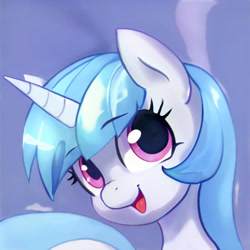 Size: 1024x1024   Tagged: safe, artist:thisponydoesnotexist, edit, editor:diego96, oc, unnamed oc, pony, unicorn, artificial intelligence, female, happy, neural network, simple background, solo