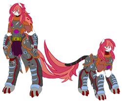 Size: 2210x1825   Tagged: safe, artist:kurogetsuouji, oc, oc only, oc:beast, oc:oath breaker, pony, anthro, anthro oc, armor, duo, male, power armor, powered exoskeleton, scar, self ponidox, simple background, stallion, white background