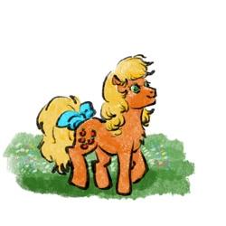 Size: 1000x1000 | Tagged: safe, artist:laya-21, applejack (g1), earth pony, pony, g1, cute, g1 jackabetes, solo