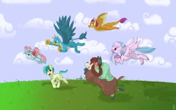 Size: 1280x800 | Tagged: safe, artist:brownie-bytes, gallus, ocellus, sandbar, silverstream, smolder, yona, changedling, changeling, classical hippogriff, dragon, earth pony, griffon, hippogriff, yak, mlp fim's tenth anniversary, cloud, cute, dragoness, female, flying, grass, group, happy birthday mlp:fim, male, monkey swings, running, stallion, student six