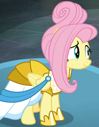 Size: 1270x1625 | Tagged: safe, screencap, fluttershy, pony, fake it 'til you make it, clothes, cropped, dress, female, mare, rarity for you, solo, warrior of inner strength, warriorshy