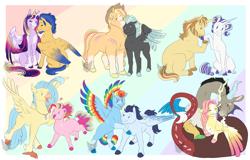 Size: 1600x1024 | Tagged: safe, artist:arexstar, applejack, discord, donut joe, flash sentry, fluttershy, pinkie pie, princess skystar, rainbow dash, rarity, soarin', thunderlane, twilight sparkle, alicorn, classical hippogriff, hippogriff, pegasus, pony, unicorn, abstract background, alternate design, alternate hairstyle, big mare, colored wings, discoshy, female, flashlight, lesbian, male, markings, multicolored wings, rarijoe, scar, shipping, skypie, soarindash, straight, thunderjack, twilight sparkle (alicorn), two toned wings, wings