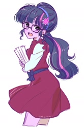 Size: 1015x1540 | Tagged: safe, artist:5mmumm5, sci-twi, twilight sparkle, equestria girls, book, cute, female, headband, looking at you, looking back, looking back at you, open mouth, ponytail, simple background, solo, twiabetes, white background