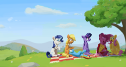 Size: 1280x686 | Tagged: safe, artist:gourdanimations, applejack, fluttershy, pinkie pie, rainbow dash, rarity, twilight sparkle, alicorn, earth pony, pegasus, pony, unicorn, mlp fim's tenth anniversary, accordion, crossed legs, cup, day, female, folded wings, glowing horn, grass, grass field, happy birthday mlp:fim, hoof hold, horn, looking at someone, looking sideways, lying down, mane six, mare, missing cutie mark, musical instrument, neckerchief, on back, open mouth, outdoors, picnic, picnic blanket, raised hoof, singing, sitting, sky, smiling, teacup, tree, twilight sparkle (alicorn), under the tree, wings