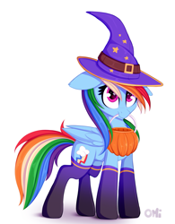 Size: 1151x1475 | Tagged: safe, artist:omi, rainbow dash, pegasus, pony, clothes, costume, cute, dashabetes, female, floppy ears, halloween, halloween costume, hat, holiday, mare, mouth hold, pumpkin bucket, simple background, smiling, socks, solo, trick or treat, white background, witch costume, witch hat