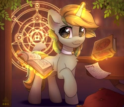 Size: 2057x1774   Tagged: safe, artist:reterica, oc, oc only, oc:golden eve, pony, unicorn, book, choker, eye clipping through hair, female, glowing horn, horn, looking at you, magic, magic circle, mare, raised hoof, smiling, solo, table, telekinesis