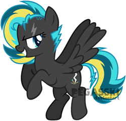 Size: 1024x977 | Tagged: safe, artist:pegasski, oc, oc only, oc:static shock, pegasus, pony, female, mare, simple background, solo, transparent background, watermark