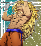 Size: 1920x2155 | Tagged: source needed, useless source url, safe, artist:theking_salt, anthro, abs, blonde, blonde hair, clothes, commission, dragon ball z, gritted teeth, long hair, male, muscles, partial nudity, pullup, strong, super saiyan, sweat, topless, workout