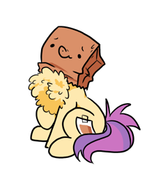 Size: 652x727 | Tagged: safe, artist:paperbagpony, oc, oc:paper bag, chest fluff, cute, excessive chest fluff, fake cutie mark, female, impossibly large chest fluff, mare, ocbetes, paper bag, simple background, white background